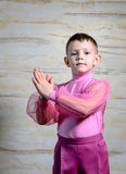 Boy Dancer Posing with Hands Together. Waist Up Portrait of Young Boy Wearing Pink Shorts and Shirt Posing with Together, Traditional European Male Dancer royalty free stock photos