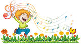 A boy dancing in the garden with musical notes Royalty Free Stock Images