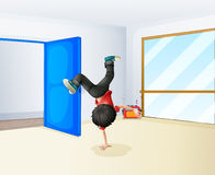 A boy dancing inside the studio Stock Photos
