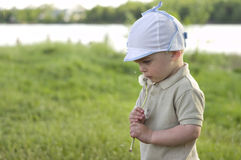 Boy with a dandelion in his hands. Little boy hold dandelion in his hands near the face. Child has wistful gaze. He dressed in beige shirt and white cap Royalty Free Stock Photo