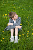 Boy on dandelion meadow Stock Image