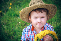 The Boy with dandelion Stock Image