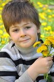A boy with a  dandelions Royalty Free Stock Photo