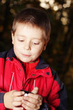 Boy in dark forest holding cup Stock Images