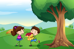 A boy dating a girl at the hilltop Royalty Free Stock Photography