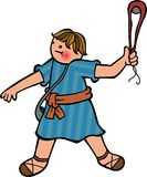 The Boy David. Cartoon illustration of a young David with his sling in his hand Stock Photo