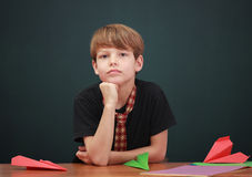 Boy daydreaming Royalty Free Stock Photos