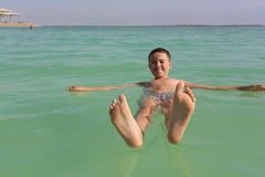 Boy at the Dead sea Royalty Free Stock Images