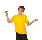 Boy deciding and pointing Stock Photography