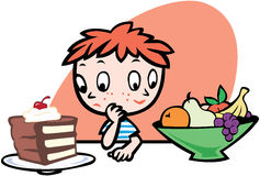 Boy deciding what to eat. Fruit or cake. vector eps8 Royalty Free Stock Photos
