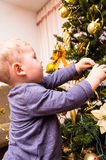 Boy decorates the Christmas tree Royalty Free Stock Image