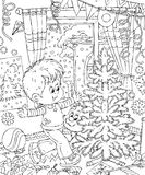 Boy decorates his room for Christmas. Black-and-white illustration (coloring page): small boy dressing a room up for Christmas and decorating one's Christmas Royalty Free Stock Photo