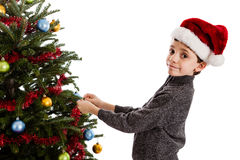 Boy decorating Christmas tree Royalty Free Stock Image