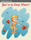 A boy in deep water Stock Images