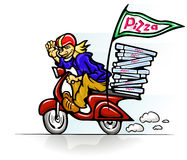 Boy delivering pizza on scooter. Vector illustration Royalty Free Stock Image
