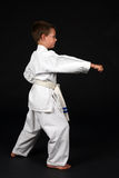Boy demonstrating right stance in karate Stock Photo