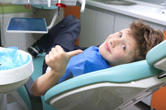 Boy in a dental surgery Stock Images