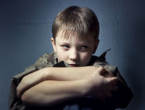 Boy in depression Stock Images