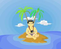Boy on desert island. Cartoon illustration of boy or man with camera around neck on desert island with palm trees, blue sky background Royalty Free Stock Photo