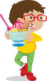 Boy with dessert Stock Images