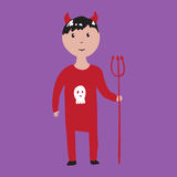 Boy in devil halloween costume Stock Image