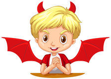 Boy with devil horns and wings Stock Photos