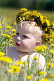 Boy with diadem from dandelions Royalty Free Stock Photos