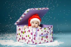 Boy in diapers with hat of Santa Claus Royalty Free Stock Images
