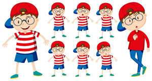 Boy with different emotions vector illustration