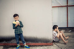 Boy different meal eating burger and stick food Stock Image
