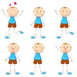 Boy in Different Mood. Illustration of set of boy showing different expression Stock Photos