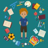 Boy and different objects for school illustration royalty free illustration