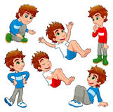 Boy in different poses and expressions. stock illustration
