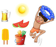 A boy with the different things for summer Stock Photography