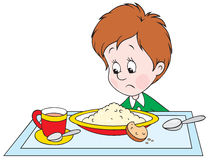 Boy at dinner. Vector clip-art of a sad boy at the dinner table Stock Photography