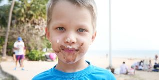Boy with dirty face. Cute boy with dirty face Royalty Free Stock Images
