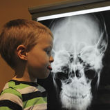 A Boy Disapproves of an  X-ray at the Discovery Children`s Museu Stock Photos
