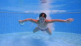 Boy dive in swimming pool stock footage
