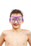 Boy diver in swimming mask with a happy face close-up portrait, isolated on white. Background Stock Photo