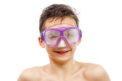 Boy diver in swimming mask with a happy face close-up portrait, isolated on white royalty free stock image