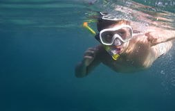 Boy diving with copy space Royalty Free Stock Photography