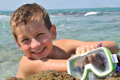 Boy with diving goggles Stock Photo