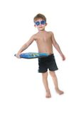 Boy with diving goggles and board over white Royalty Free Stock Photo