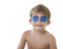 Boy in diving goggles over white Stock Photography