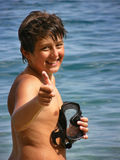Boy with a diving mask Stock Images