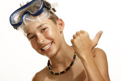 Boy diving mask Stock Photography