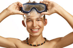 Boy diving mask. On white royalty free stock image