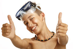Boy diving mask Royalty Free Stock Photos
