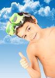 Boy  with diving mask. Happy and smilling child with diving mask Stock Image