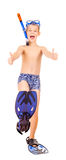 Boy with a diving mask isolate on the white Royalty Free Stock Photo